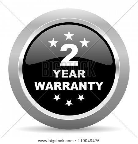 warranty guarantee 2 year black metallic chrome web circle glossy icon