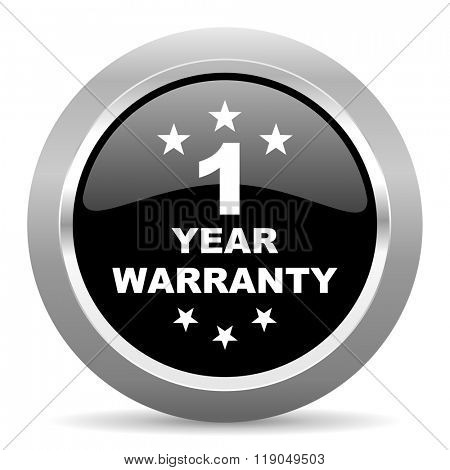 warranty guarantee 1 year black metallic chrome web circle glossy icon