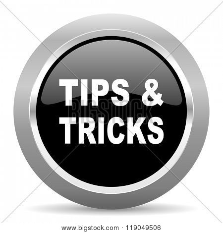 tips tricks black metallic chrome web circle glossy icon