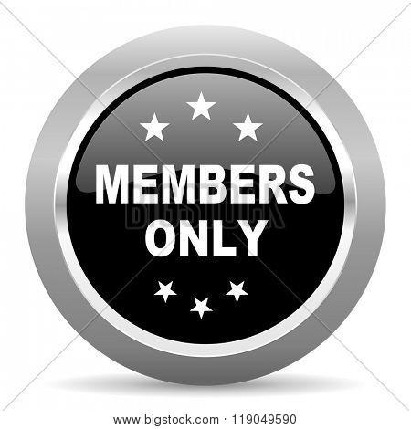 members only black metallic chrome web circle glossy icon