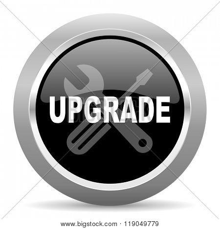 upgrade black metallic chrome web circle glossy icon