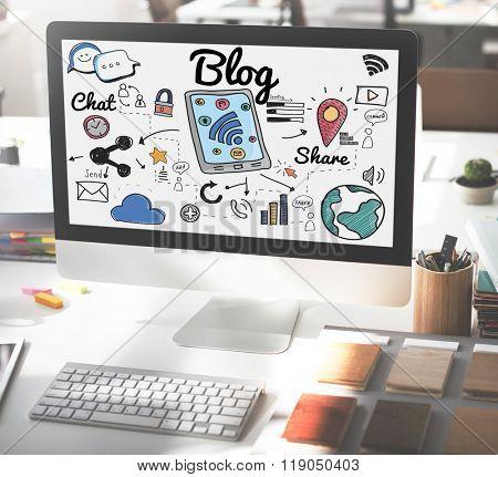 Blog Homepage Content Social Media Online Concept