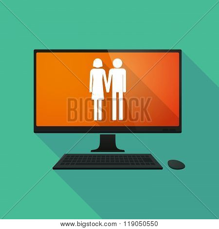 Personal Computer With A Heterosexual Couple Pictogram