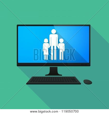 Personal Computer With A Male Single Parent Family Pictogram