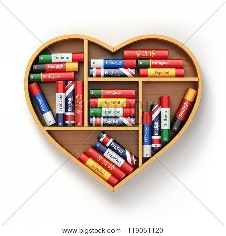 Bookshelf with ictionaries in form of heart. Learning language concept background. 3d
