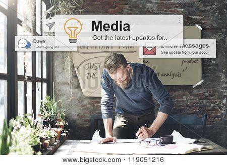 Media Communication Online Information Concept