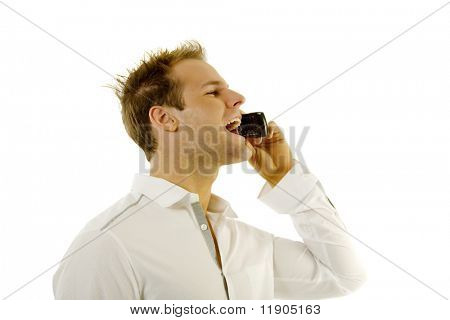 Young male talking on the cellphone