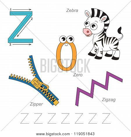 Tracing Worksheet for children. Full english alphabet from A to Z pictures for letter Z the colorful version.