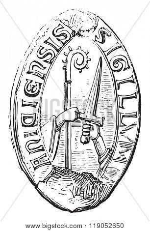 Official du Puy. Two hands holding the stick and sword, vintage engraved illustration. Magasin Pittoresque 1880.