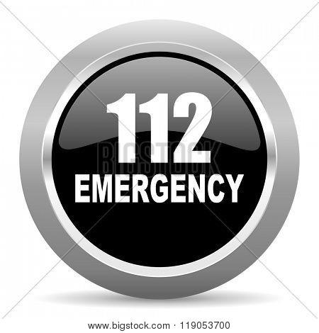 number emergency 112 black metallic chrome web circle glossy icon