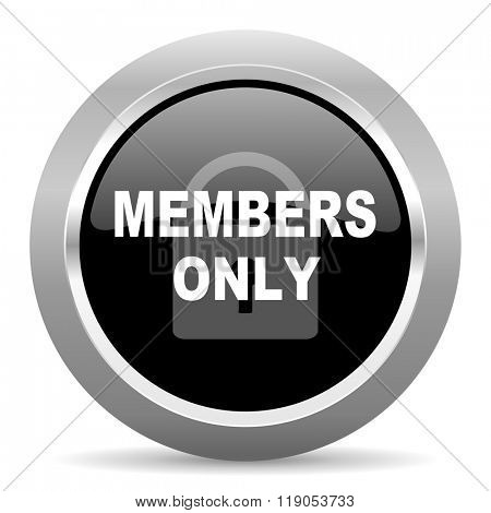 members only black metallic chrome web circle glossy icon