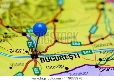 Bucharest pinned on a map of Romania