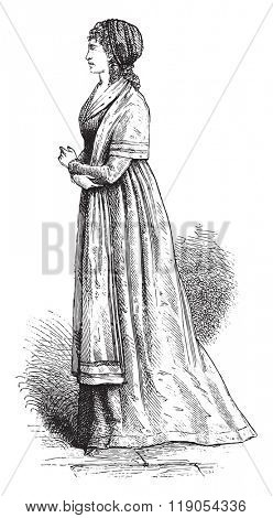 Shawl and turban, after an engraving of the time, vintage engraved illustration. Magasin Pittoresque 1880.