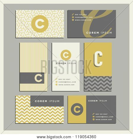 Set of coordinating business card designs with the letter c