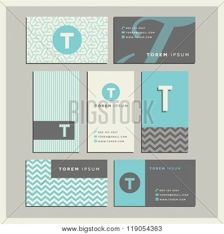 Set of coordinating business card designs with the letter t
