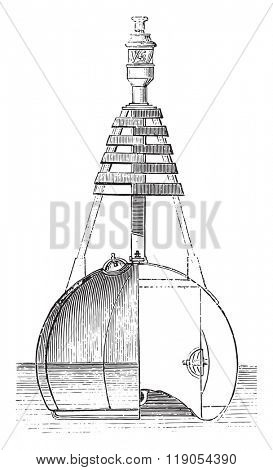 Light buoy, vintage engraved illustration. Magasin Pittoresque 1880.