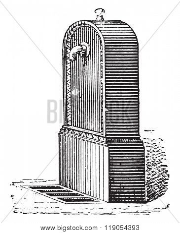 Fire hydrant, vintage engraved illustration. Dictionary of words and things - Larive and Fleury - 1895.