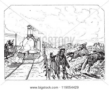 The whistle, vintage engraved illustration. Magasin Pittoresque 1880.