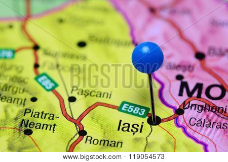 Iasi pinned on a map of Romania