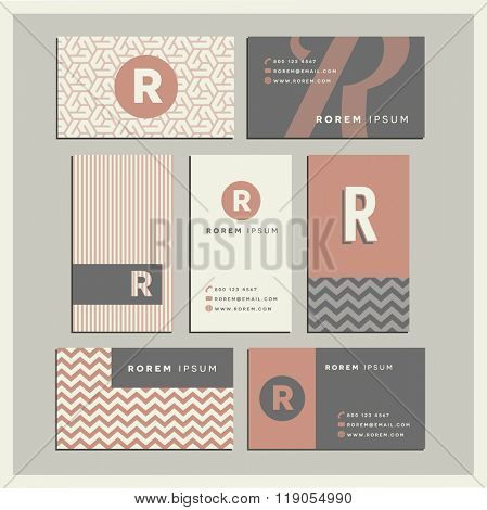 Set of coordinating business card designs with the letter r