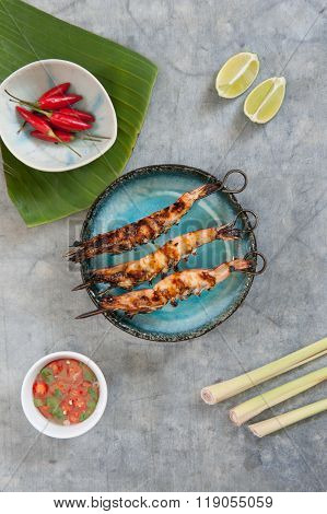 Aerial View Grilled Prawns