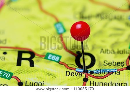 Deva pinned on a map of Romania
