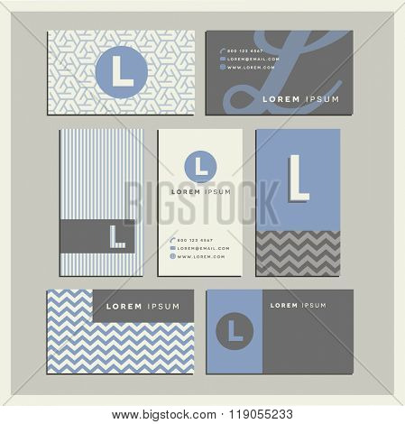 Set of coordinating business card designs with the letter l