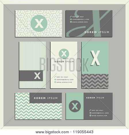 Set of coordinating business card designs with the letter x