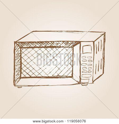 Sketch illustration of microwave oven
