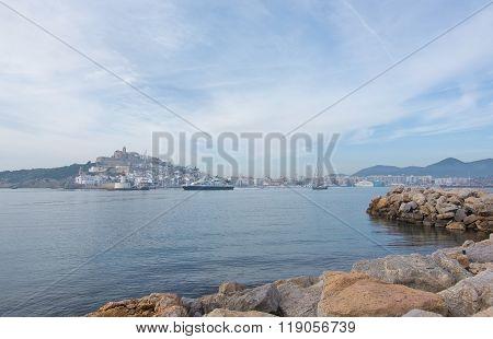 Dalt Vila On Ibiza Town Hill Across The Bay