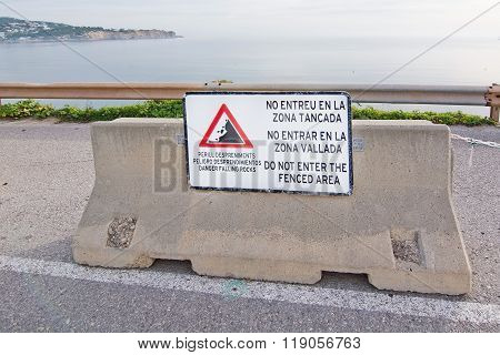 Warning Sign To Enter Fenced Area