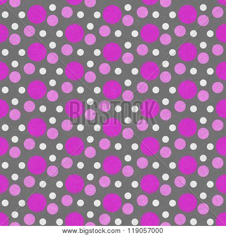 Pink, White And Gray Polka Dot Tile Pattern Repeat Background