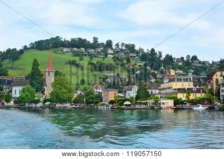 WEGGIS, SWITZERLAND - JULY 4, 2014: The Beau Rivage Hotel. A four star hotle in the town of Weggis on the shores of Lake Lucerne.