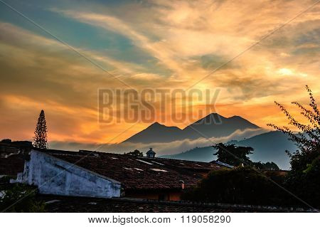 Sunset Over Two Volcanos, Guatemala