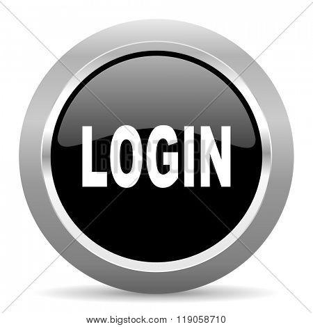 login black metallic chrome web circle glossy icon
