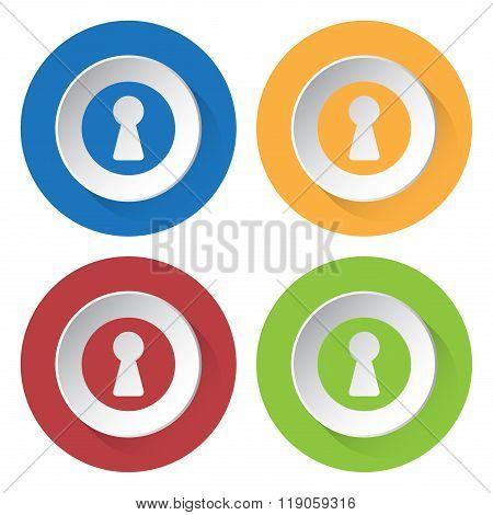 Set Of Four Icons - Keyhole