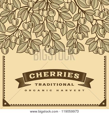 Retro cherry harvest card brown