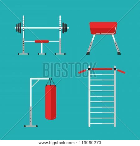 Set Of Flat Sports Equipment Icons For Gym Training, Bodybuilding And Active Lifestyle, Fitness Elem