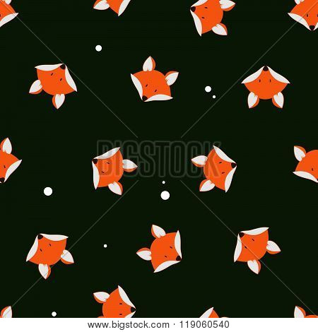 Cute Foxes Seamless Vector Pattern. Vector Cute Cartoon Fox Seamless Pattern. Orange Fox's Head On D