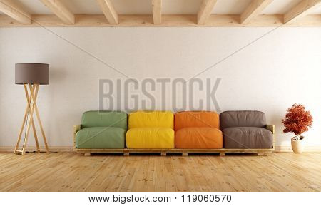 White Lounge With Colorful Pallet Sofa