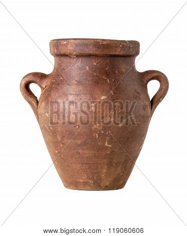 A Terracotta Amphora On A White Background