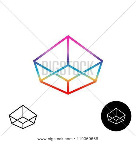 3D Wireframe Linear Rainbow Color Logo. Crown Angular Cube Symbol.