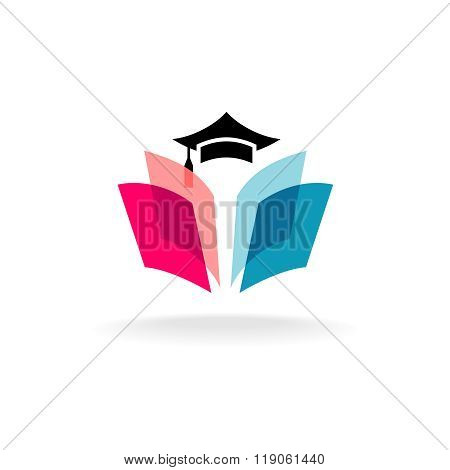 Education Logo Concept With Graduation Cap And Open Book Pages. Transparency Are Flattened.