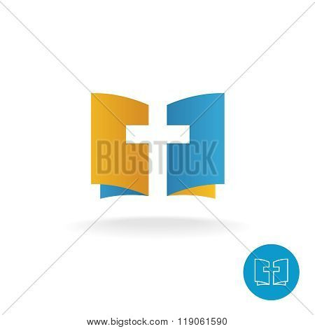 Open Book With Religion Cross Symbol Logo