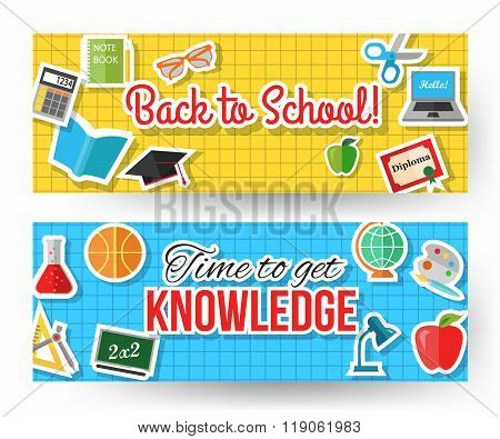 Back to school and time to get knowledge horizontal typographical banners with computer, open book,