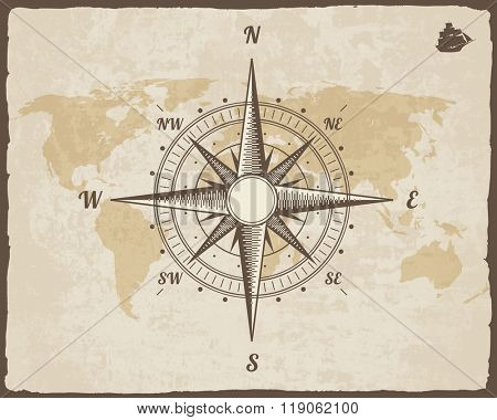 Vintage Nautical Compass. Old World Map on Vector Paper Texture with Torn Border Frame. Wind rose. Background with Ship Logo Silhouette