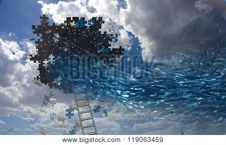 Surreal Fish Swim to Hole in Sky