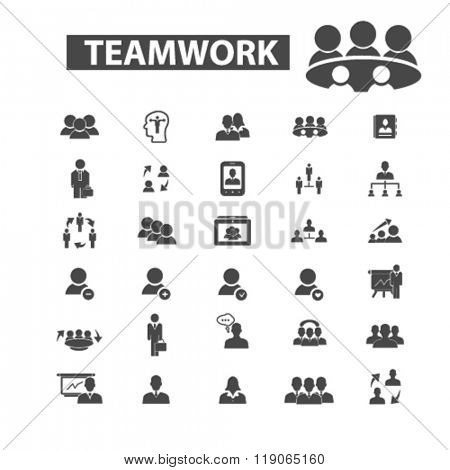 teamwork icons, teamwork logo, team icons vector, team flat illustration concept, team infographics elements isolated on white background, team logo, team symbols set, partnership, group