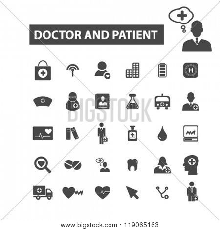 patient icons, patient logo, doctor icons vector, doctor flat illustration concept, doctor infographics elements isolated on white background, doctor logo, doctor symbols set, clinic, therapy