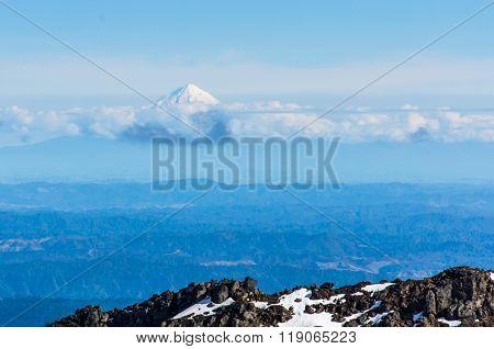 Far View Of  Mount Taranaki In The Tongariro National Park, New Zealand